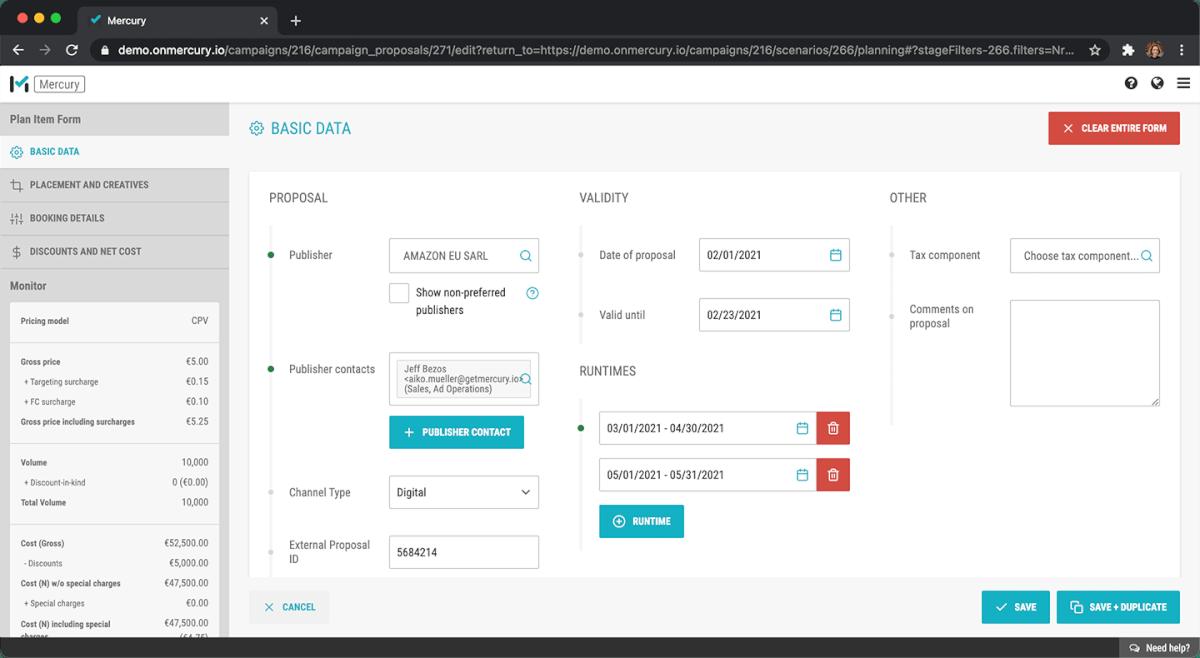 Mit dem Media Planungs Feature der Media Management Platform MMT Mercury vereinfachen Sie den Planungsprozess mit automtischer Inventarabfrage und Prognosen Ihrer Kampagnenergebnisse.