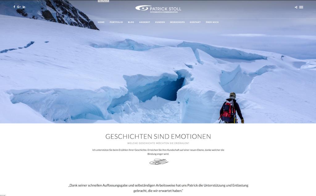 Das Bild zeigt einen Screenshot der neuen Webseite von Patrick Stoll Fotografie & Kommunikation.