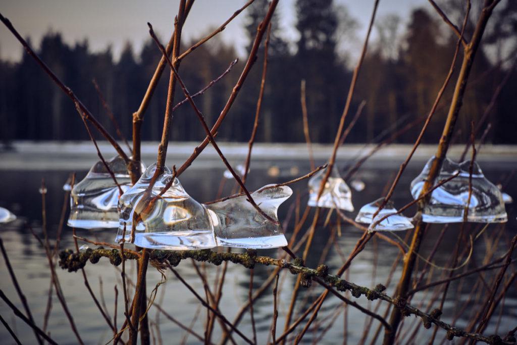 Die kalten Tage im Februar haben am Engeweiher ihre Spuren in Form von Eis hinterlassen.