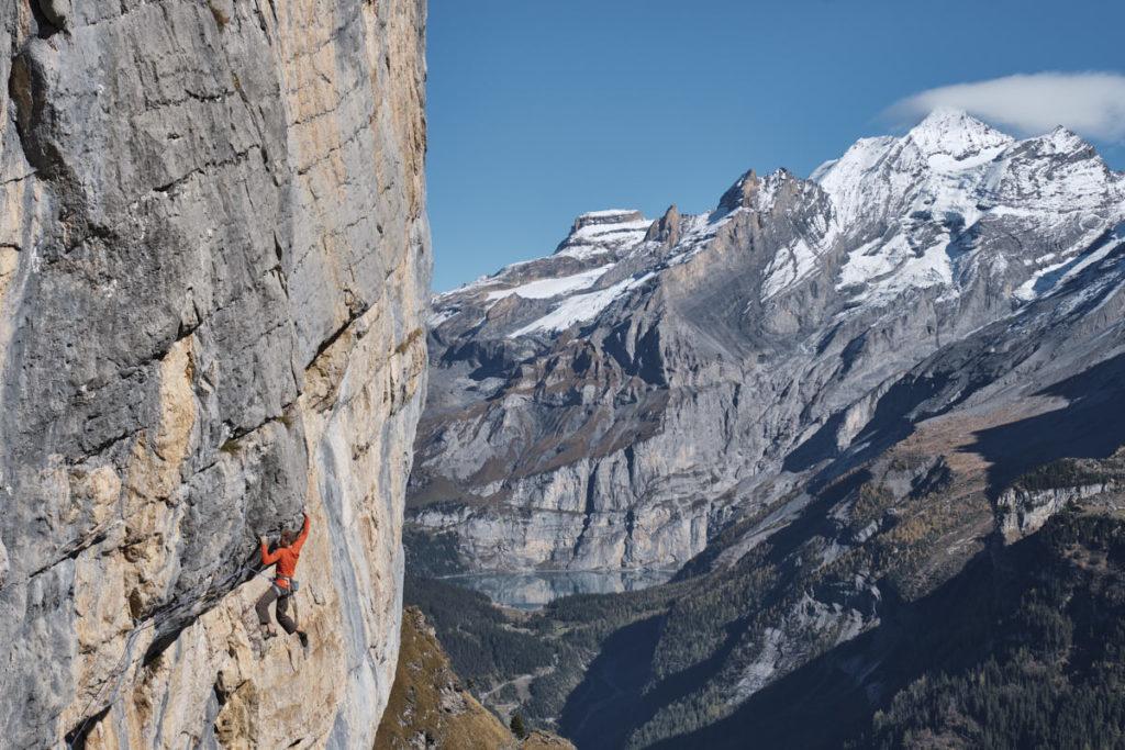 """Jonas Schild kletterte die Route """"Fusion"""" im Klettergebiet Ueschenen."""