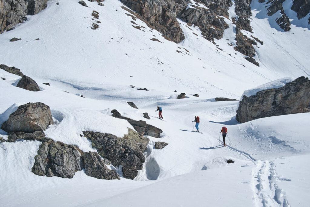 Ende März 2019 waren die Verhältnisse zuhinterst im Val Rosegg noch perfekt für Skitouren.