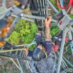 Installation für eine Höhenrettung. Fotoshooting am Funkturm