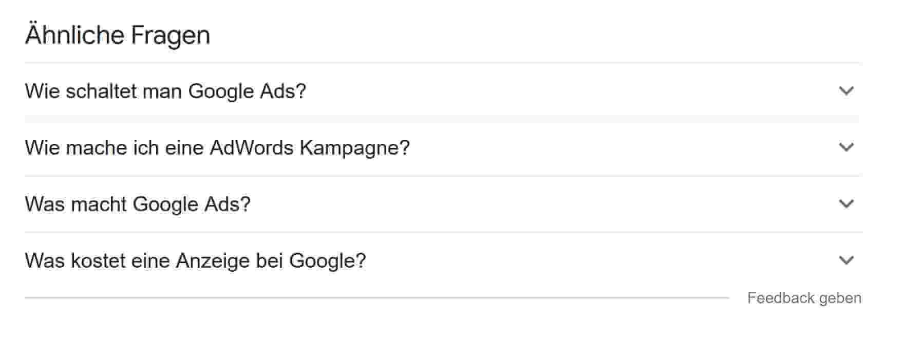 Aehnliche Fragen in Google SERP