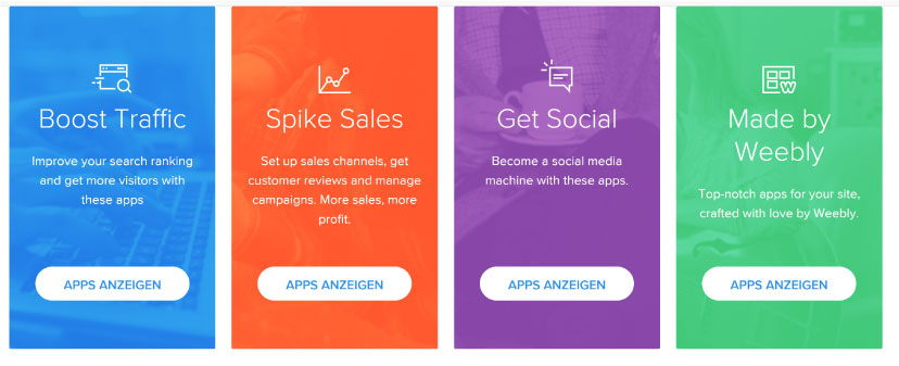 Apps bei Weebly