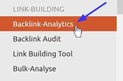 Backlink Analytics im Menu