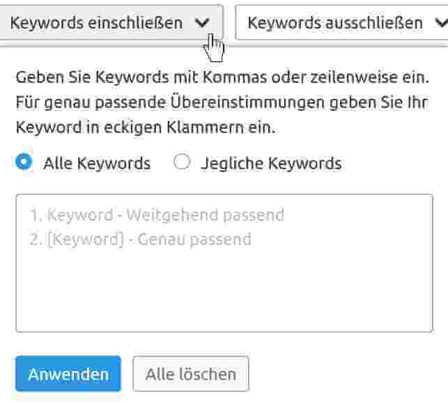 Keywords einschliessen Filterung
