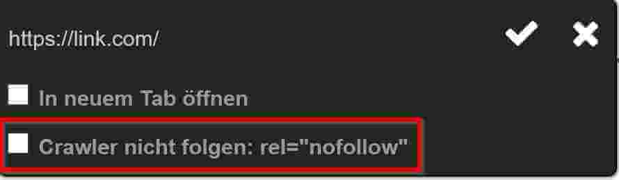 No Follow Link Beispiel