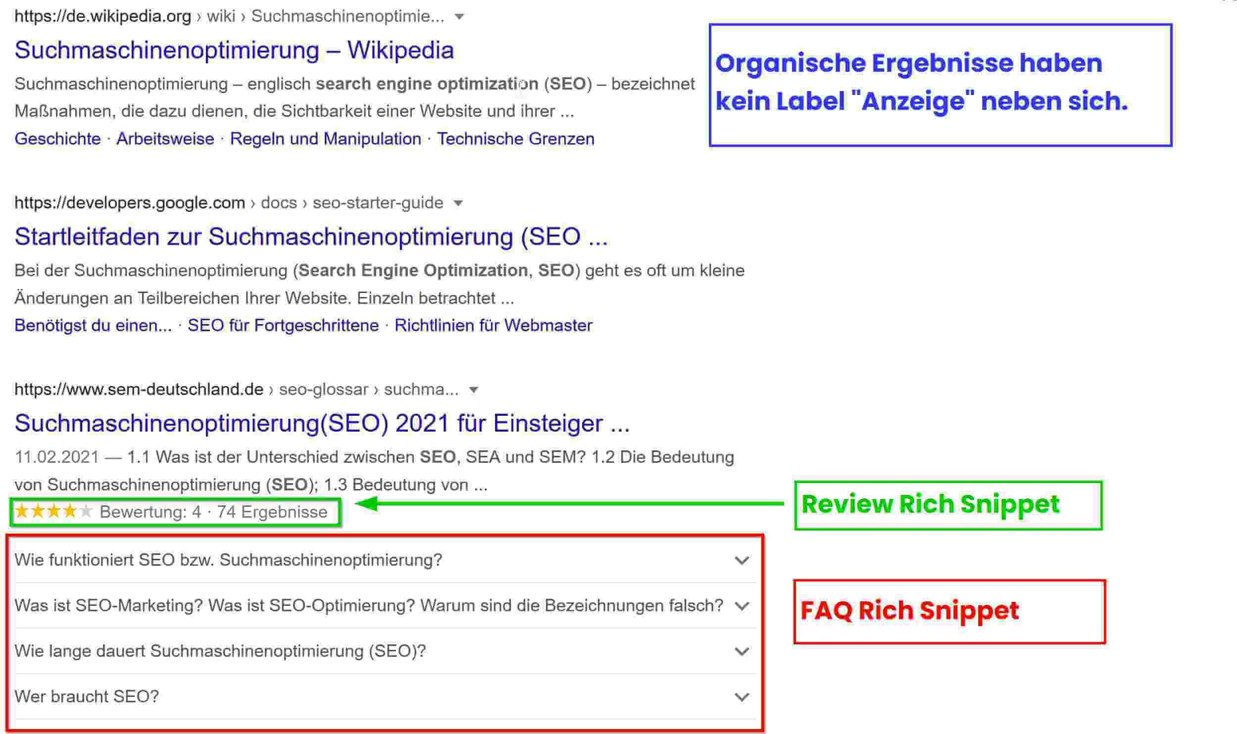 Organische Suchergebnisse mit Rich Snippets