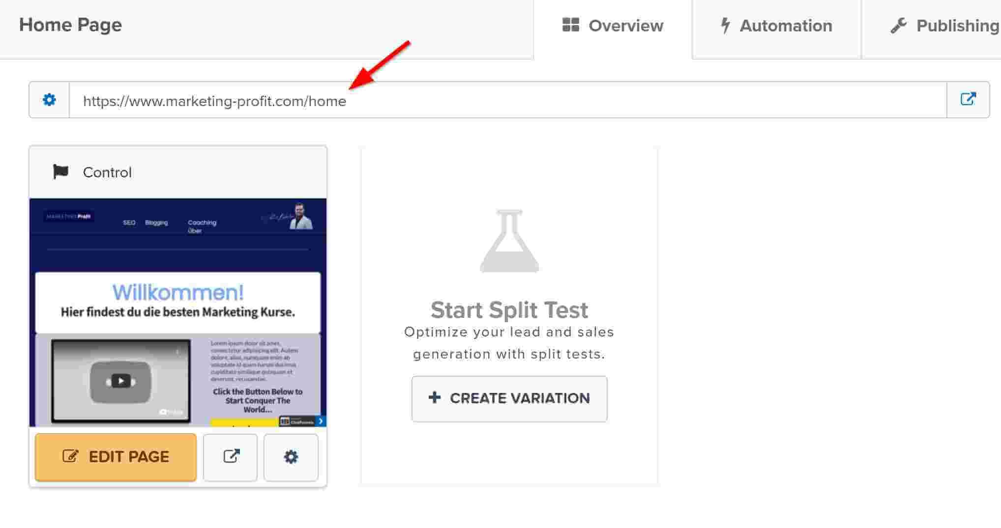 Redirect zur Homepage bei clickfunnels
