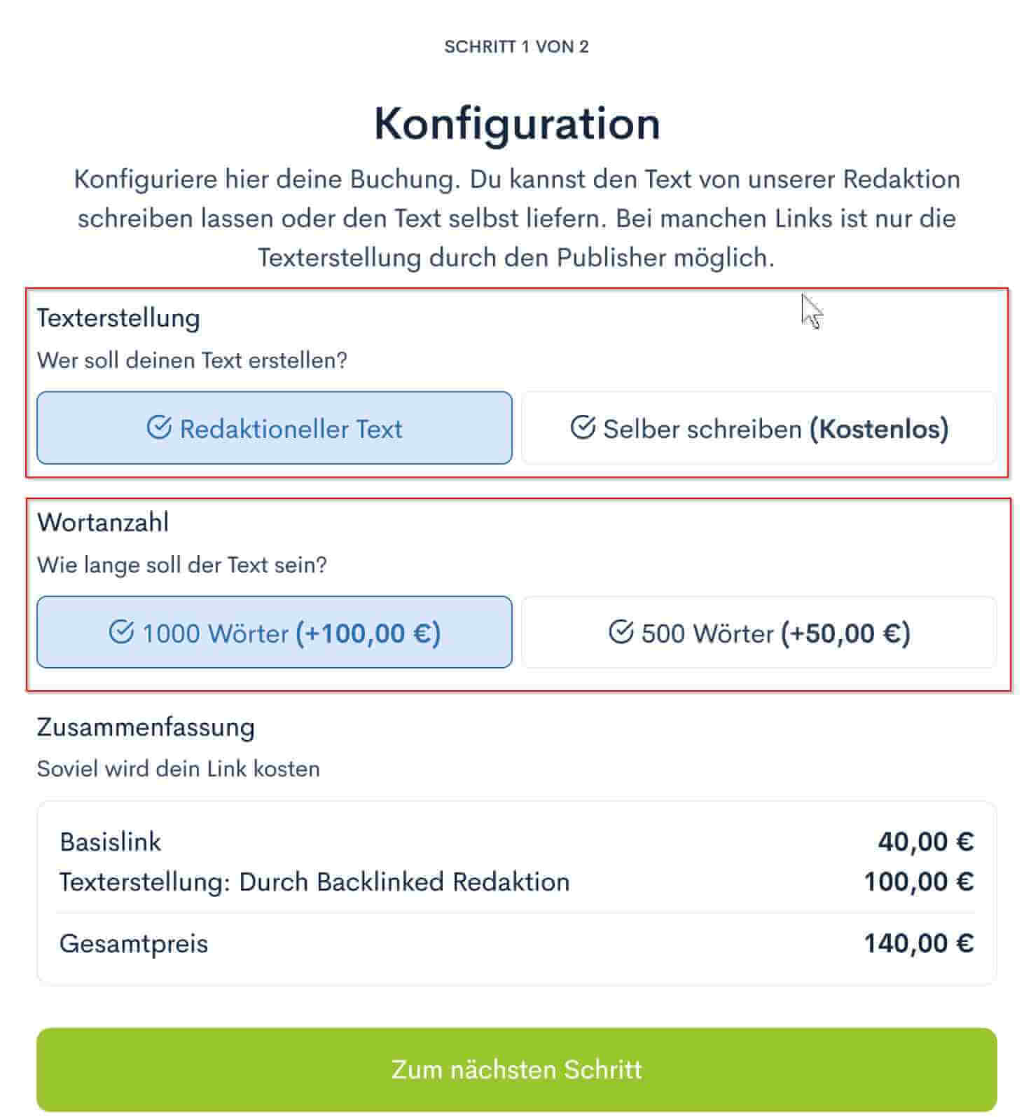 Text outsourcen bei Backlinked