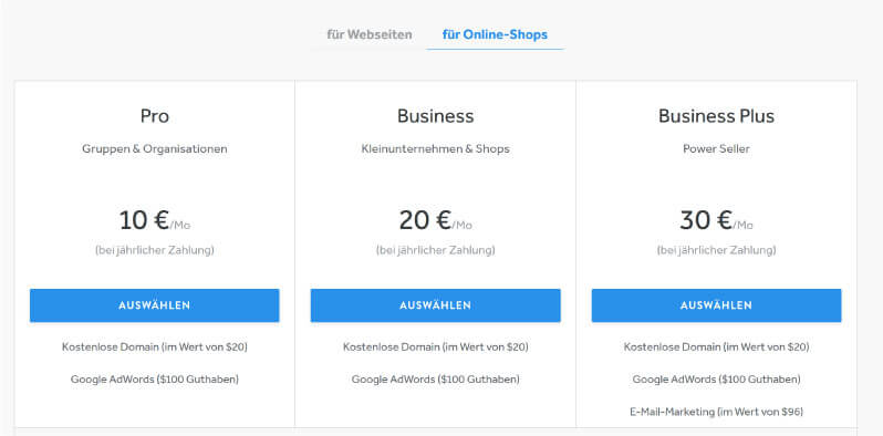 Weebly Preise E Commerce