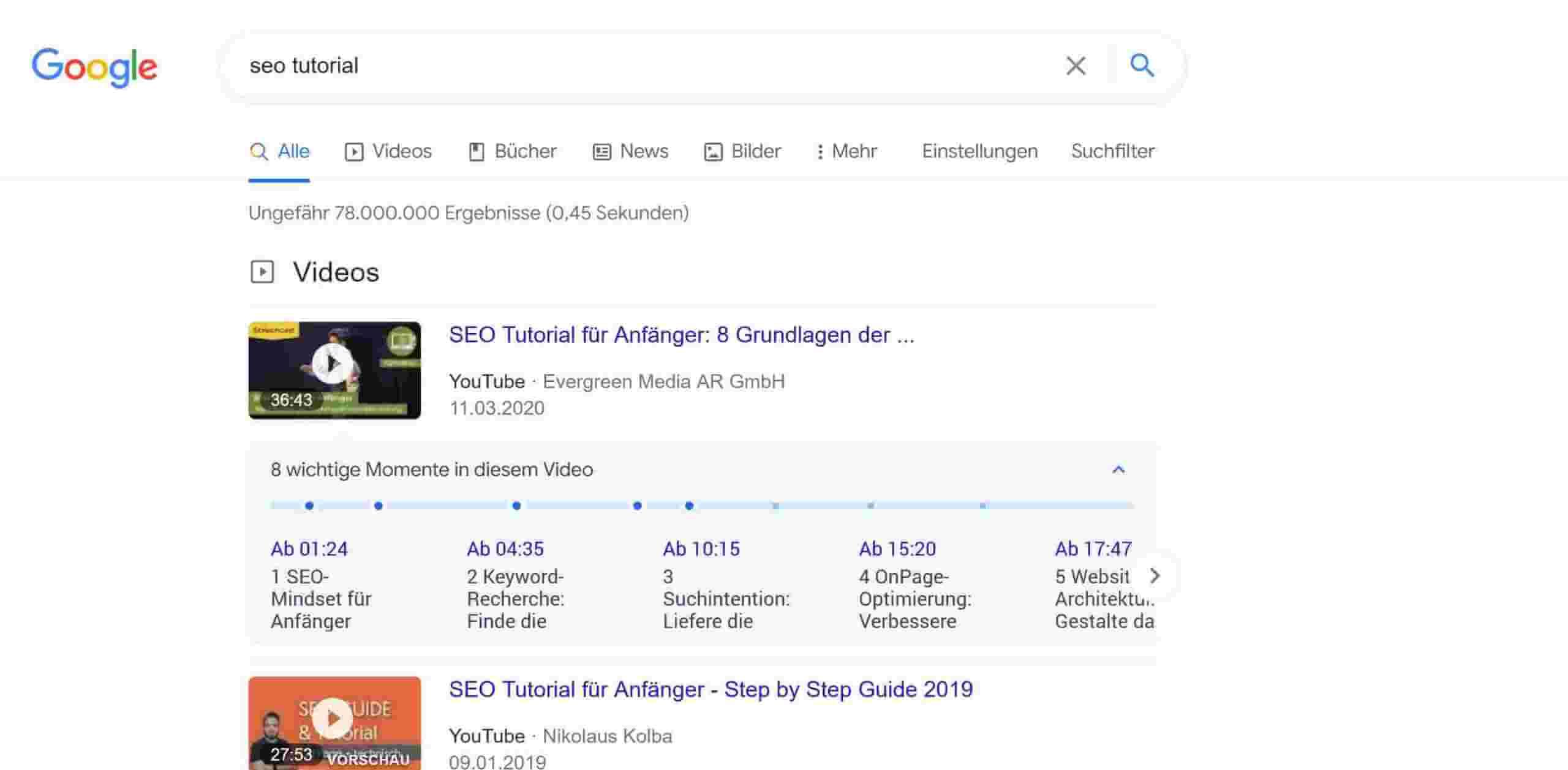 YouTube Suchergebnisse bei Google SERP