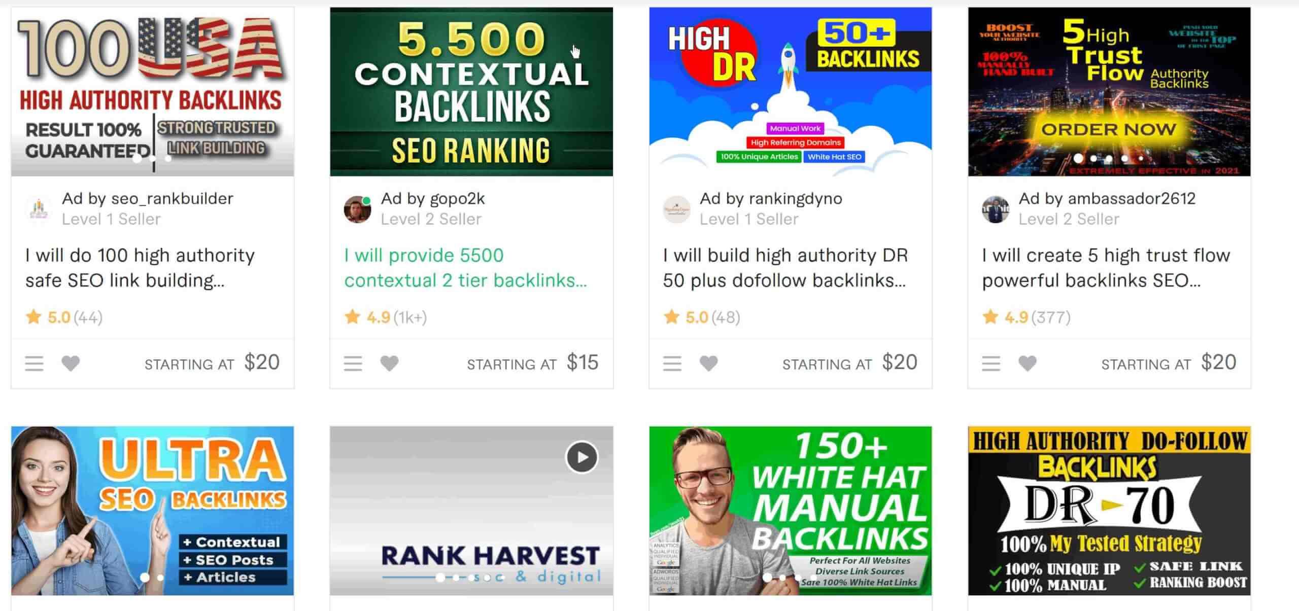 Fiverr als Alternative fuer Backlinked