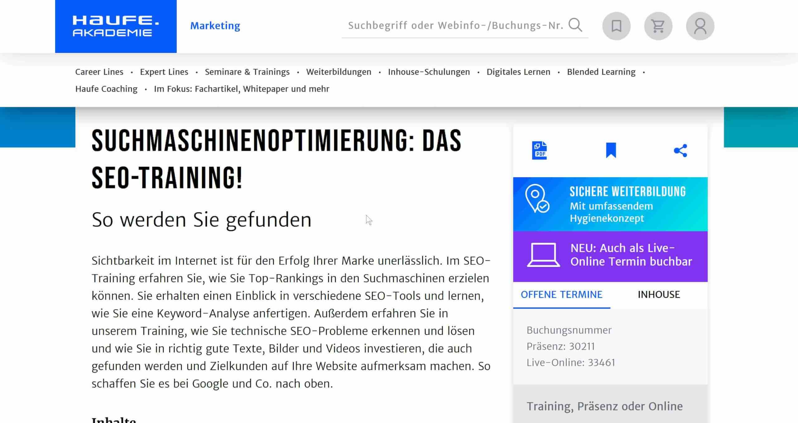 Haufe Akademie SEO Training