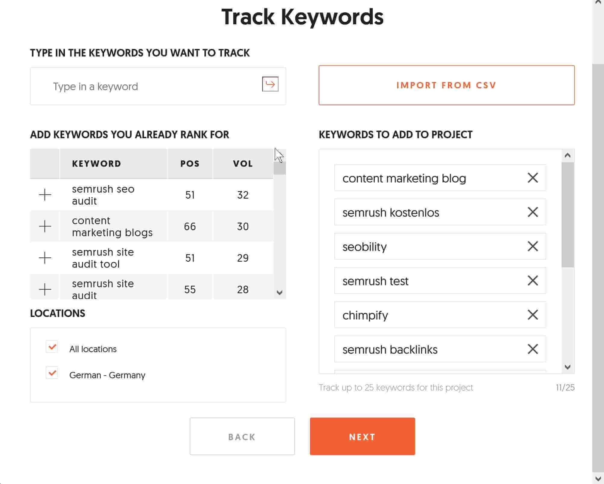 Keywords bei Ubersuggest tracken
