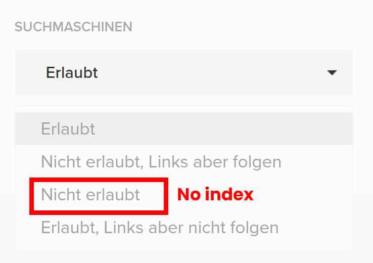 NoIndex bei Chimpify