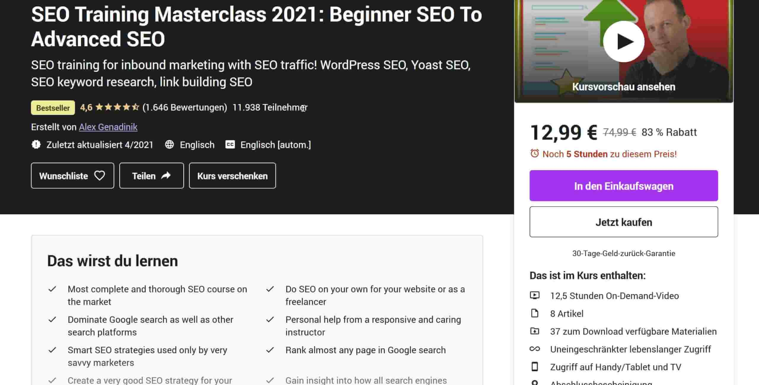 SEO Training Beginner to Advanced Udemy