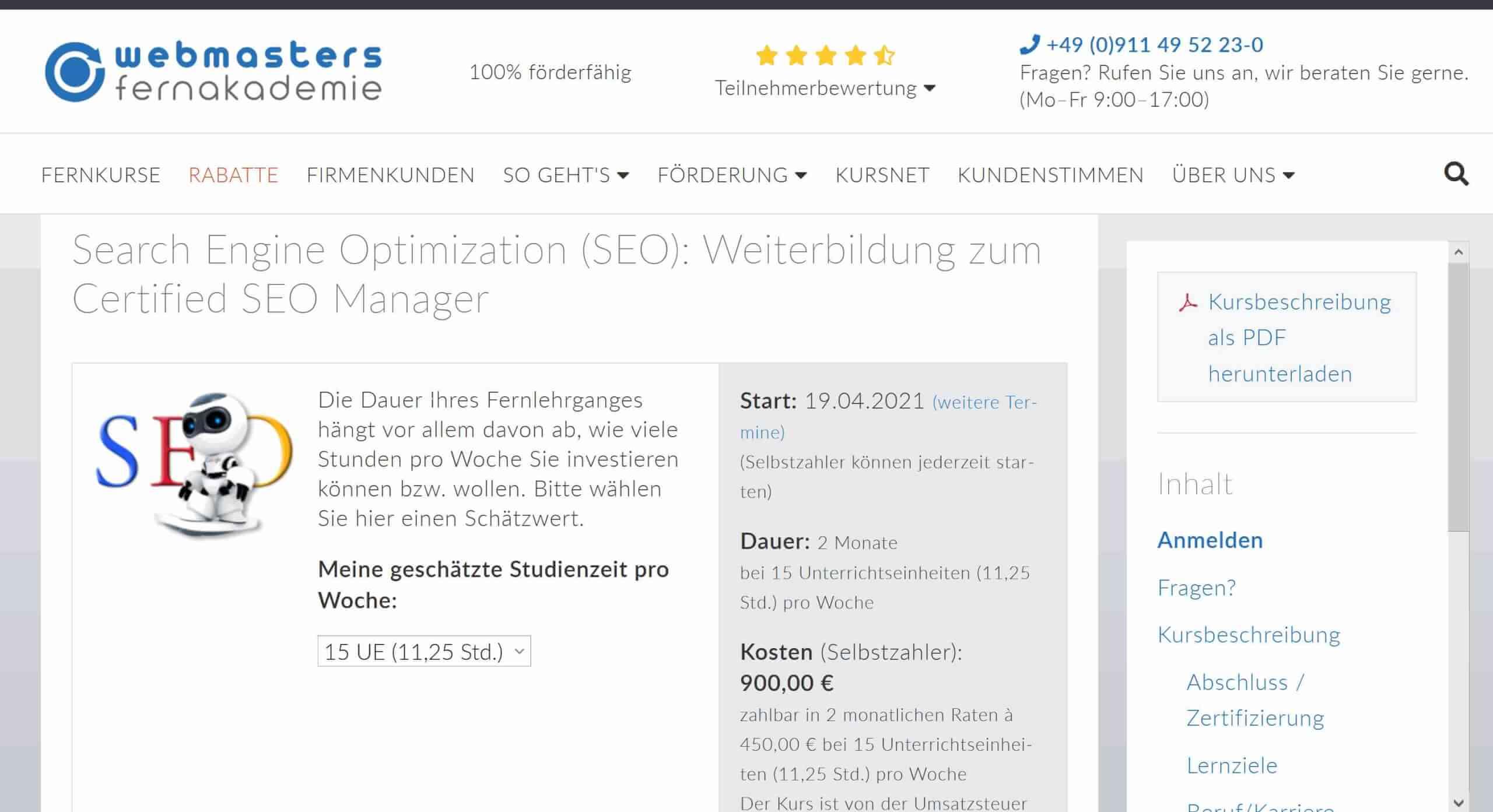 SEO Weiterbildung von Webmasters Fernakademie