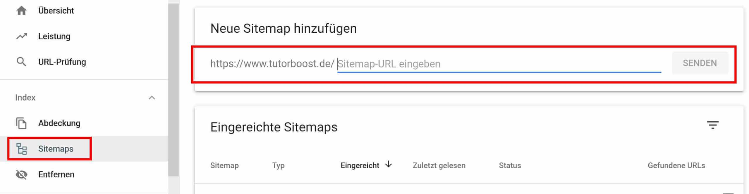 Sitemap hinterlegen bei GSC