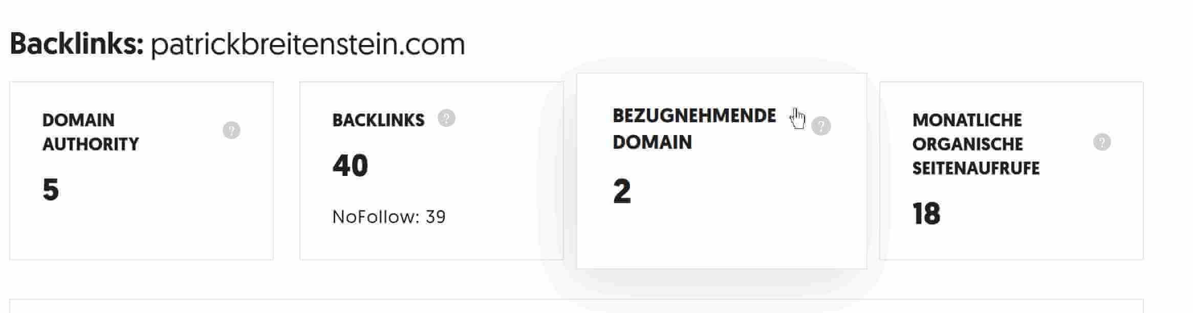 Verweisende Domains bei Ubersuggest