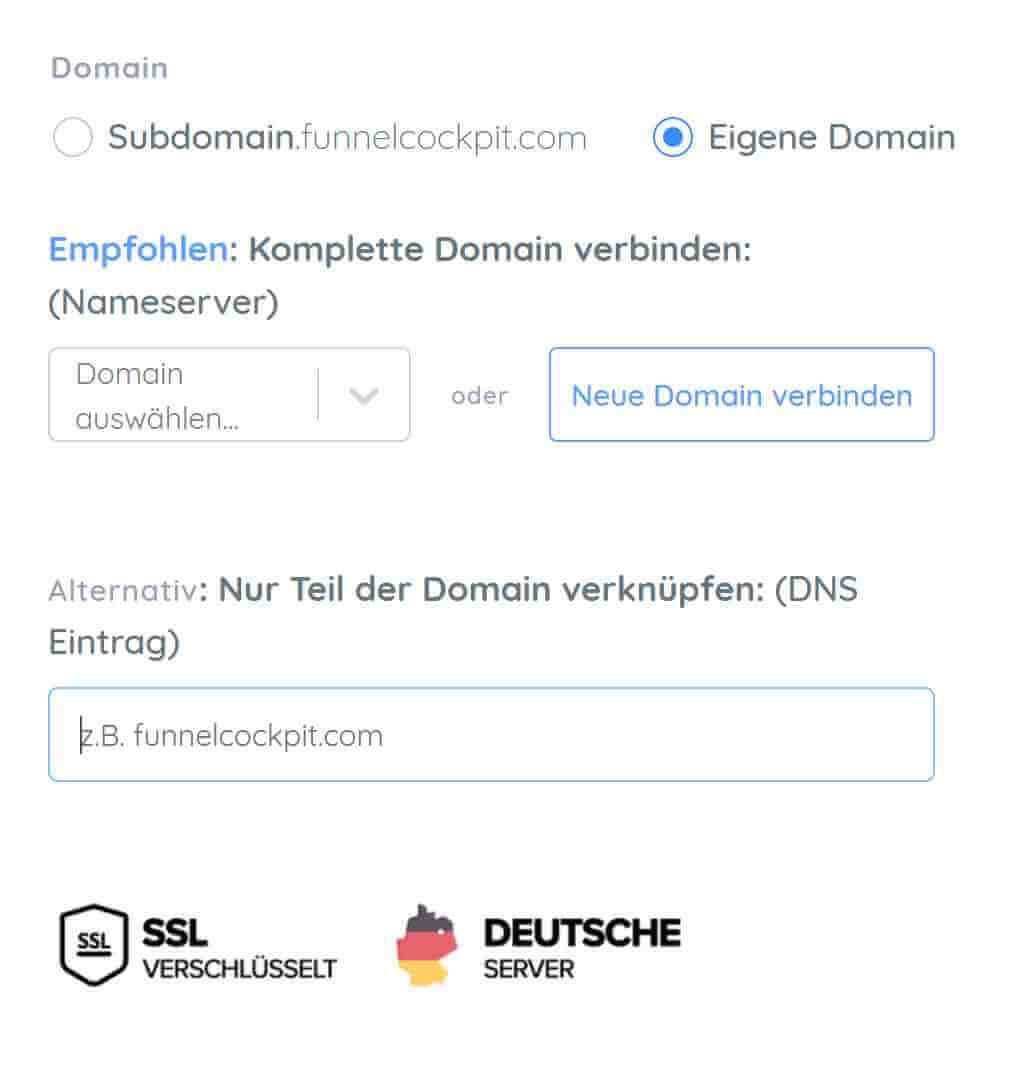 Domain verbinden bei Funnel Cockpit