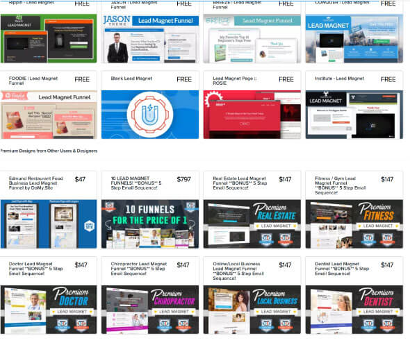Funnel Vorlagen von clickfunnels
