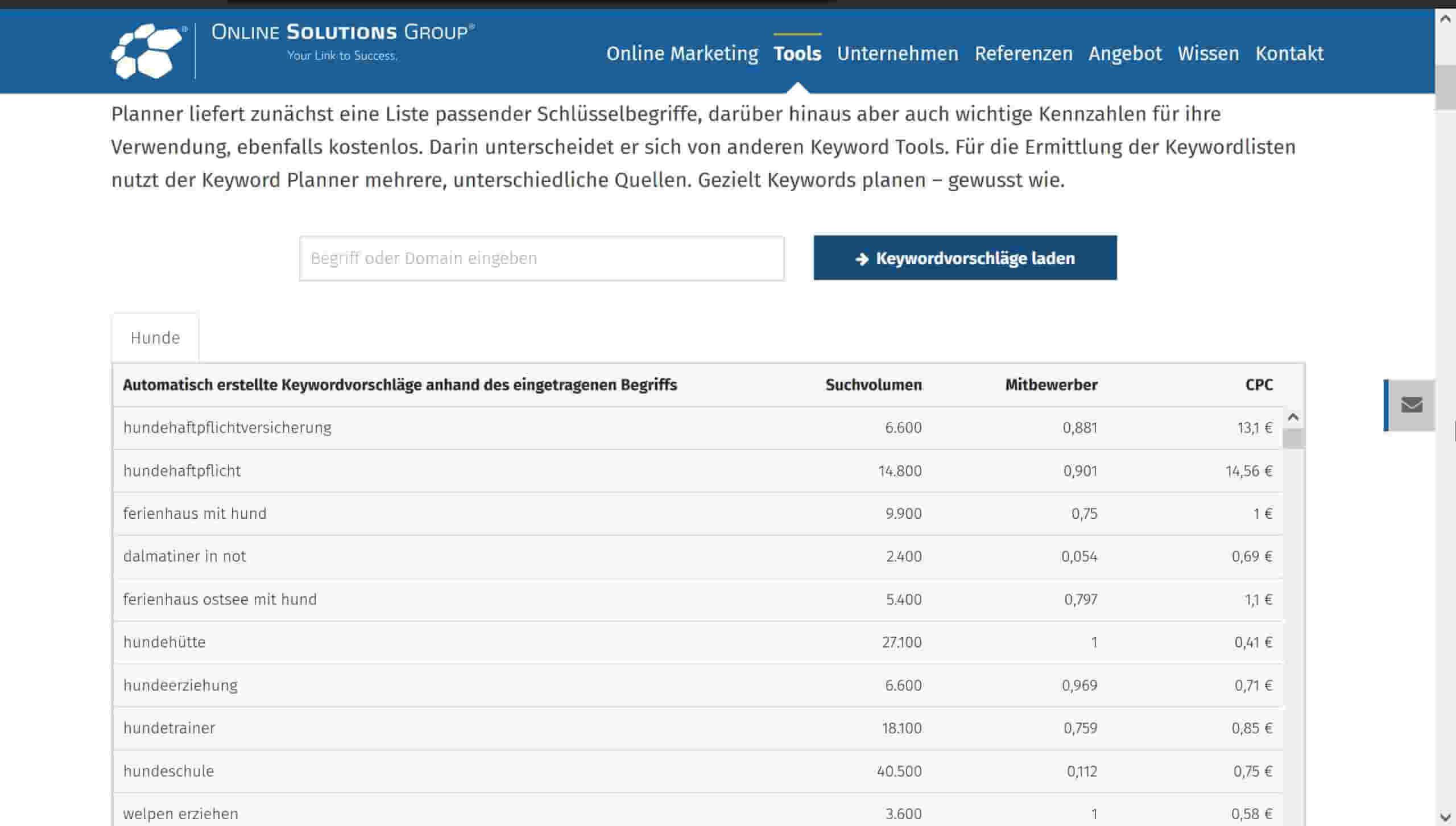 Online Solutions Group Keyword Planner