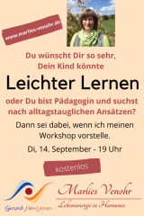 September, 14. um 19 Uhr / Vorstellung des Workshops Leichter Lernen