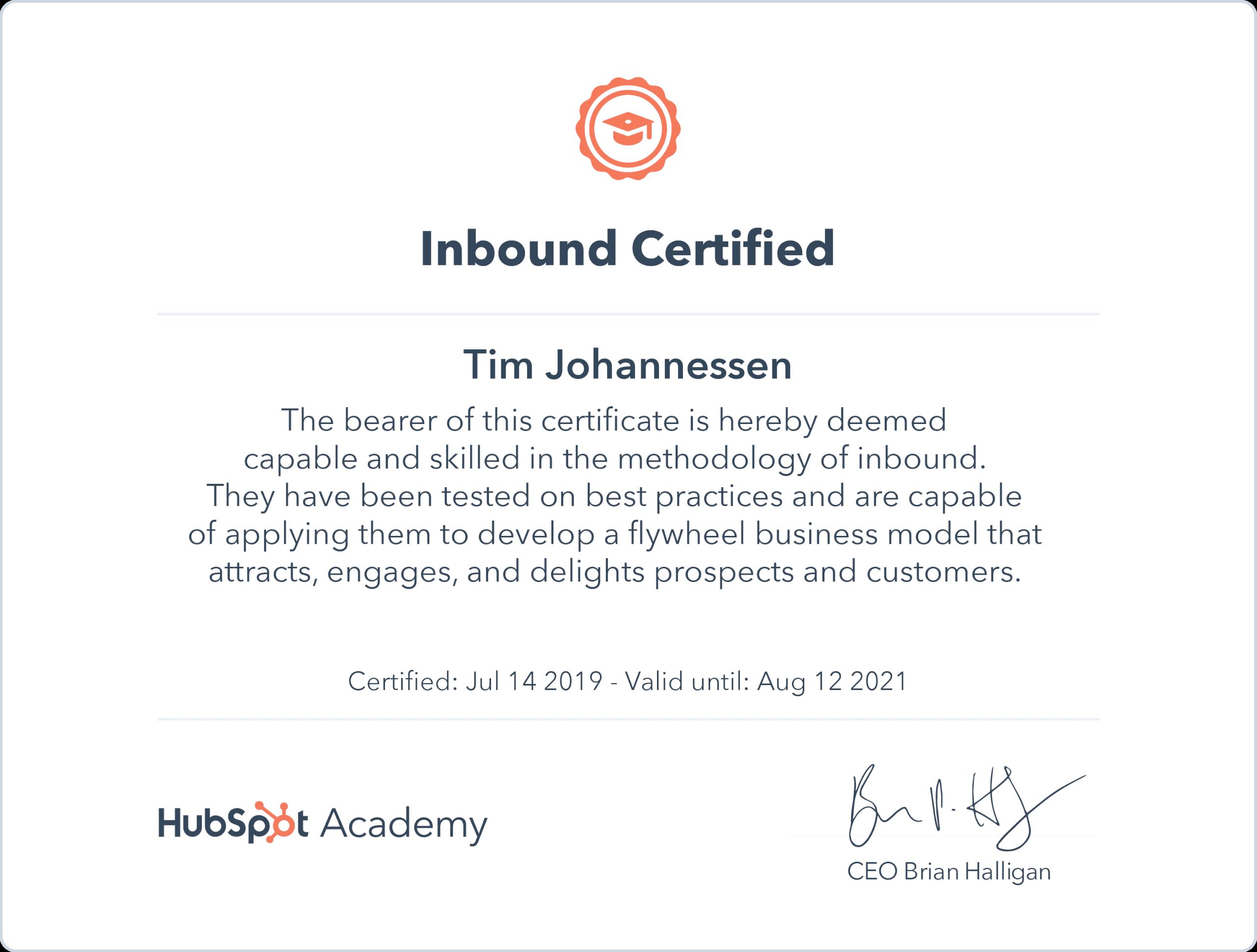 Inbound Certification Hubspot Academy Tim Johannessen