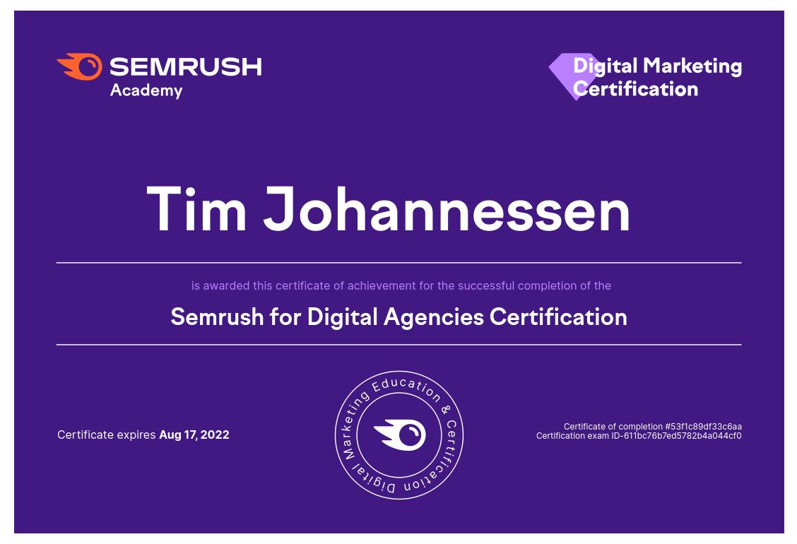 Semrush for Digital Agencies Certification Tim Johannessen