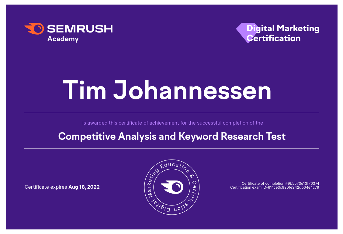 Semrush Competitive Analysis and Keyword Research Tim Johannessen
